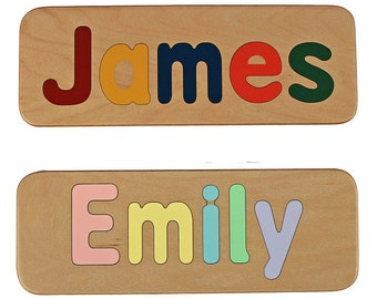 Name Puzzle -  Raised Letters -  Wooden Personalized Puzzle-First Birthday Gift - Educational - Mixed Case Letters Only