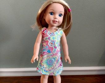 Cute little simple sheath dress for Wellie Wisher Size Doll.  W608
