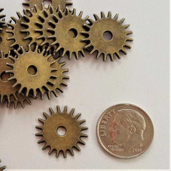 "CLEARANCE 37 pcs 20mm Steampunk Clock Gears Cogs Charms Metal Bike Steampunk Jewelry Bronze Metal Watch Gears 3/4"" Diameter Bicycle Gears"