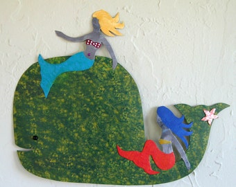 Metal Wall Art - Milo & The Girls - Whale and Mermaids Recycled Metal Wall Sculpture