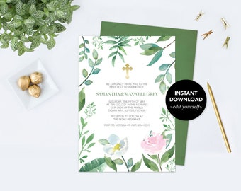 BAPTISM INVITATION, Greenery BAPTISM Invite, Greenery First Communion, Twin Invitation, Editable Template First Communion Invite, Baptism