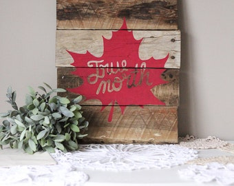 """Ready To Ship // """"True North"""" Freehand Maple Leaf in Red Reclaimed Pallet Wood Sign"""