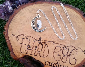 Rainbow moonstone necklace | moon necklace | moon charm | crystal necklace | healing stones | fantasy jewelry | fairy jewelry |