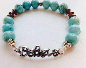 Believe Bracelet, Inspiring Jewelry, Turquoise Bracelet, Christian Bracelet