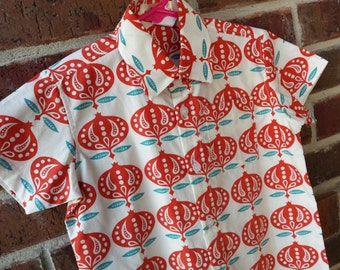 Organic Cotton Toddler or Youth Boys Handmade Button Down Shirt - Pomegranate 3157