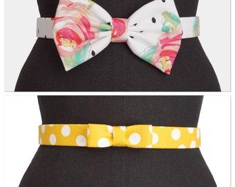 Spring Bow Belts | Bow Belts | Floral Belt | Poke a Dot Belt | Vintage Belt