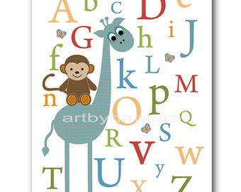 Baby Nursery Decor Art for Children Kids Wall Art Baby Boy Room Decor Baby Boy Nursery Print Print Alphabet Giraffe Monkey Blue Green