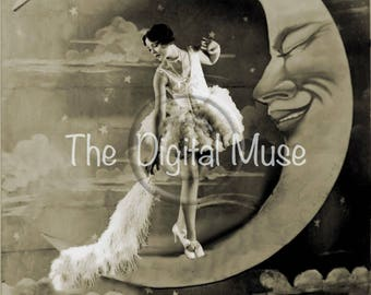 Dusting The Moon Instant Download Vintage Photograph
