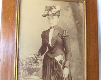 Antique Photo Young Woman With Hat And Umbrella