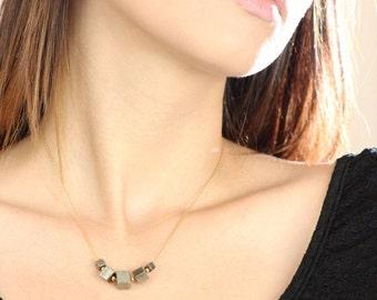Pyrite cubes silver necklace