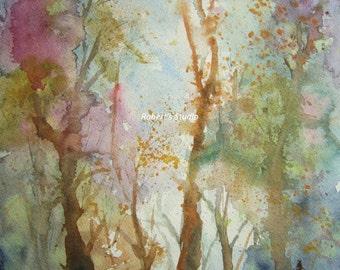 Print Of Original Watercolor landscape painting, Autumn Woods, watercolor art, watercolor print, autumn art, fall woodland scenic painting.