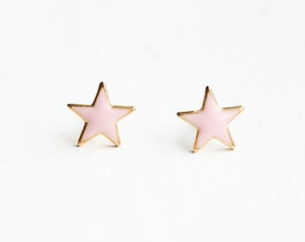Pink Gold Star Studs