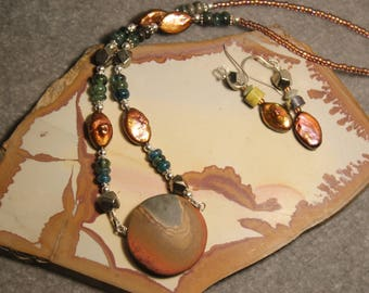 Landscape Polycrome Jasper with a wonderful scene on sterling silver with apatite, pearl & pyrite by EvyDaywear.  Handmade, one-of-a-kind