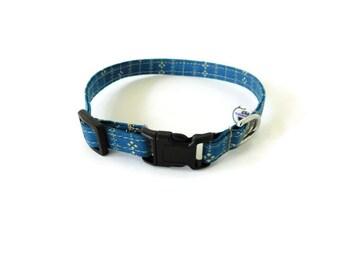 Blue and Tan Striped Dog Collar, Cat Collar