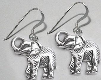 Detailed Elephants sterling silver 925 earrings