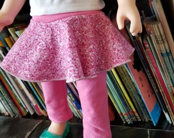 "Doll Leggings, 18"" Doll Clothes, Faux Pink Glitter Doll Pants, Girl Doll Trousers, Doll Skirt"