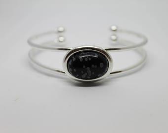 Snowflake Obsidian Gemstone Cuff Bracelet Silver