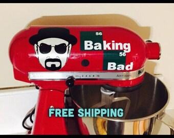 TV Show Breaking Bad Inspired Heinsenberg Baking Bad KitchenAid Mixer Decal