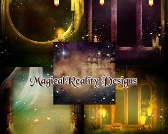 Digital Fantasy Backgrounds {Scenes} Digital Scrapbook - Legends Of The Dragon - Magical Backgrounds-Fairy Backgrounds-Enchanted - Dragons