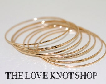 ONE Bangle, 14kt  SOLID gold, 14g thick, 1.6mm each bangle, mom, mothers, gifts, bridesmaids, your size