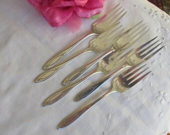 """Forks - Salad Forks - Silver Plate - """"Adam"""" - Set of 6 - Dessert Forks - Vintage"""