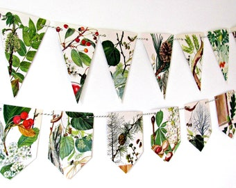Nature wall decor, Nature bunting, Nature lover gift, Countryside decor, Tree party decor, Trees illustrations, Paper garland, Wall banner