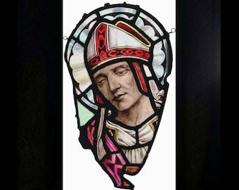 Antique Victorian Stained Glass Saint, Pre-Raphaelite Man, Bishop, Rare Historic Religious Art, English Church, 1800's Home Decor