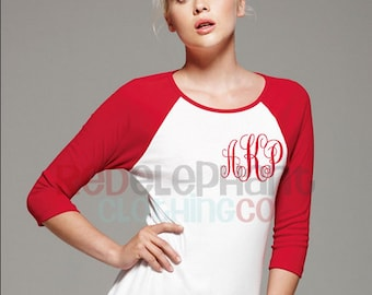 Monogram Raglan Tee, Monogram Raglan Shirt, Baseball Raglan Shirt, Womens Raglan Shirt