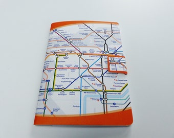 map notebook lines subway of London tube A6 size 48 pages lined note book storage Pocket