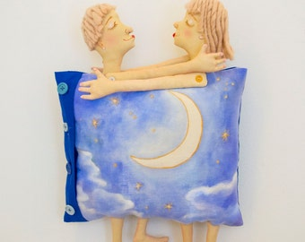 """Art Pillow """"Love in the sky"""" filled with love, wall hanging, wall art. Wedding gift. Gift for couples. Gift for Home. OOAK."""