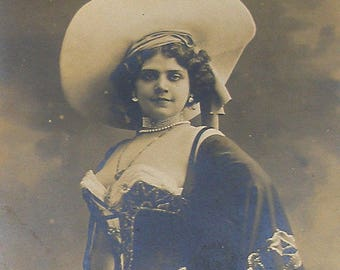 SALE 1900s French postcard, Actress with large hat, Real photo postcard (RPPC) paper ephemera.