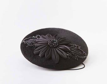 Black satin flower pill box hat