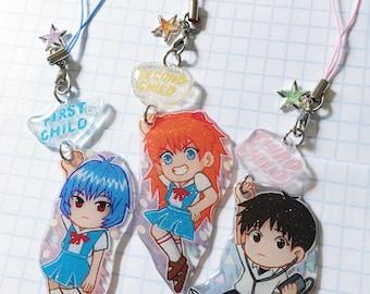 Hand Drawn Neon Genesis Evangelion Rei, Asuka, or Shinji Keychain