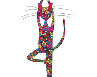 Yoga Cat Print - Yoga Cat Art Print in 5x7  White Mat - Gift for Cat Lover - Colorful Cat on White Background