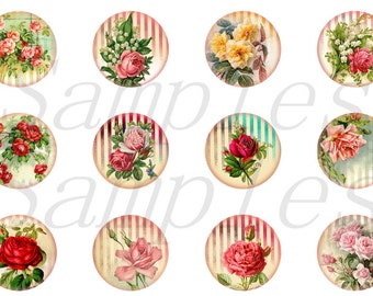 """Victorian Rose Magnets, Victorian Rose Pins, Victorian Roses Magnets, Victorian Magnets, 1"""" Flat, Hollow Backs,Cabochons, 12ct"""