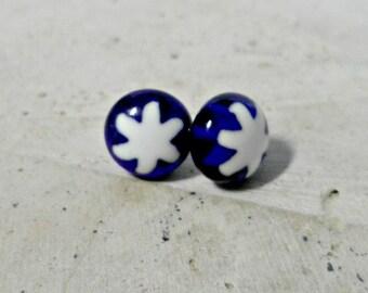 millefiore Earrings - fused glass earrings - millefiore post earrings - blue and white glass - jewelry -  stud earrings