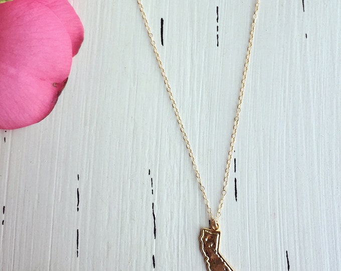 California State Charm  Necklace/14k Gold Filled/18""