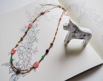 Mixed gemstone necklace for Heart Chakra, Cherry Quartz necklace - Amethyst necklace - Labradorite necklace - Green Onyx Necklace - Jade