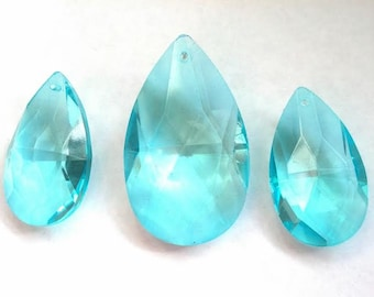 3pc Light Aqua Teardrop Crystals for Princess Crowns 38mm and 50mm Chandelier Prisms