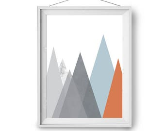 Mountain Print, Kids Room Art, Scandinavian Print, Triangles Art, Geometric Poster, Abstract Wall Art, 5x7 in, A3, 50x70 cm, Print Avenue