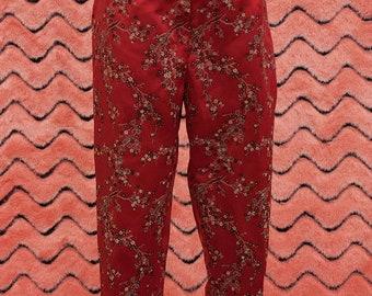 1980's 1990's Asian floral satin pants