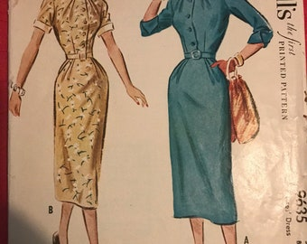 Vintage 40s McCall's 9635 Dress Pattern-Size 12 (30-25-33)