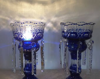 An Antique set of 2 Bohemian glass table lamps, can 1900