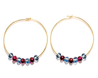14K Gold Hoops with Burgandy Garnet & Denim Blue Crystal Beads.