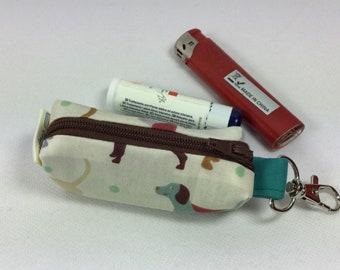 Mini dogs zip case,lip balm case, mini coin purse,lipstick case, memory stick case,flash drive case,chapstick case