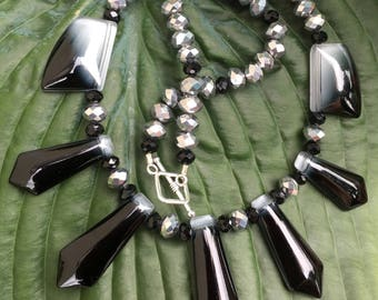 """Fierce Statement; 18"""" Beaded Necklace; Silver & Black Glass; Toggle Clasp"""