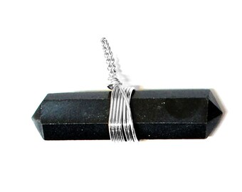 1 (ONE) Black Agate Point Pendant- Double Terminated Wire Wrapped Pendant - Silver Tone - Chakra - Healing - Metaphysical - RK50B15b-06