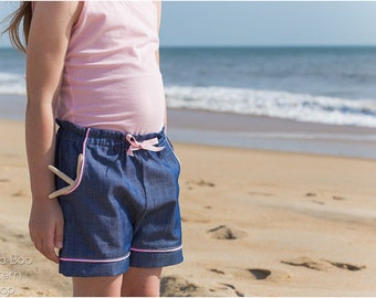 Beachcomber Kids Shorts Sewing Pattern / Girls Shorts Pattern / Boys Shorts Pattern / Toddler Shorts PDF Sewing Pattern / Elastic Waste