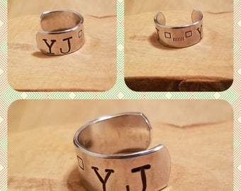 YJ square headlights 1/2 inch width hand stamped and polished adjustable size aluminum or thumb ring