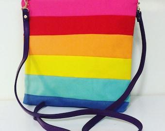Crossbody Rainbow bag, bag, colourful bag, rainbow bag, crossbody bag, navy crossbodybag, daybag